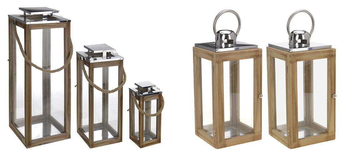 Belldeco latarnie, drewno, szklo, metal, trzy rozmiary