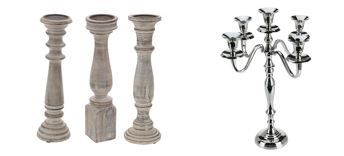 Belldeco swieczniki, metal, drewno