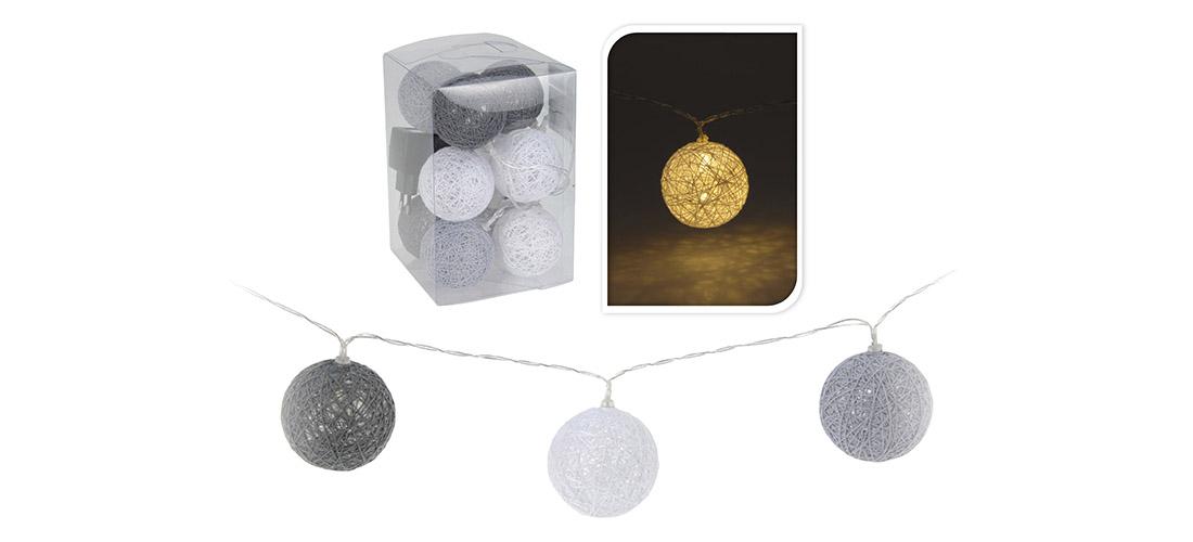 Koopman łańcuch świetlny, kule, odcienie szarosci, cotton light balls