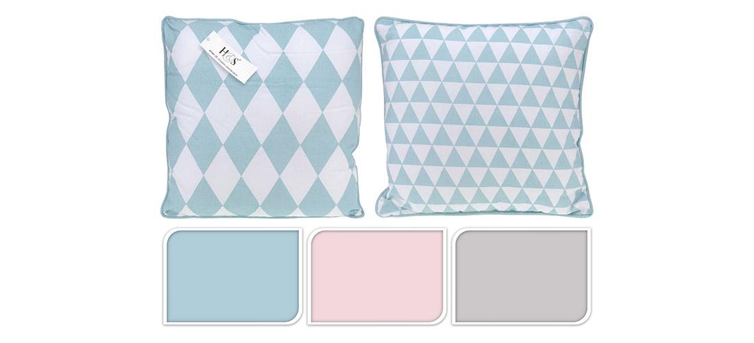 Koopman poduszki, romby, trojkąty, 100% bawełna, dwa wzory, trzy kolory