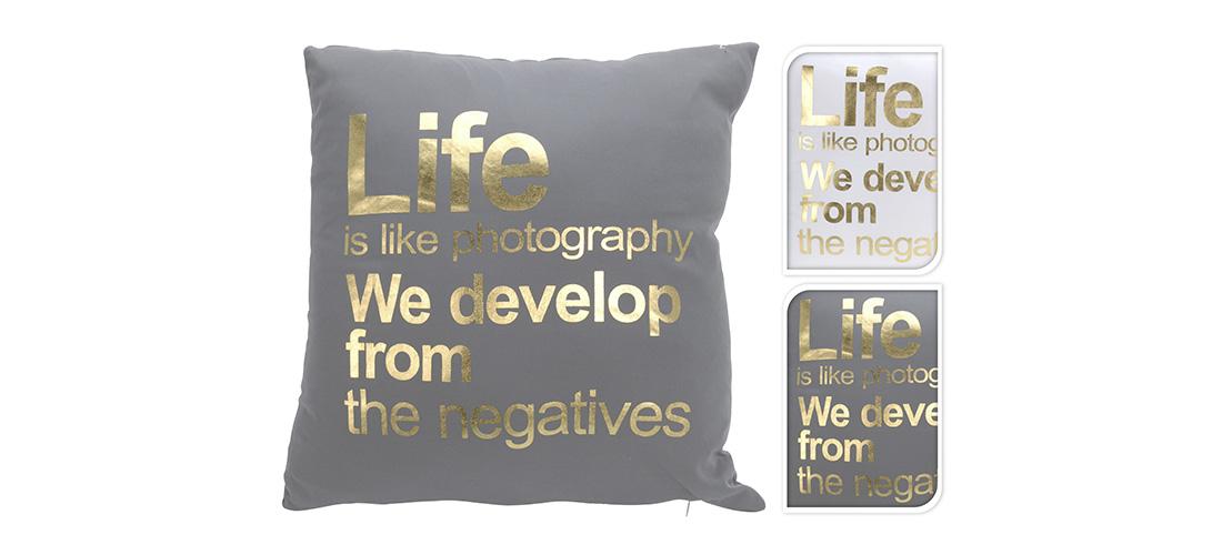 Koopman poduszka z tekstem, bawełna z dodatkiem materiału syntetycznego, dwa kolory